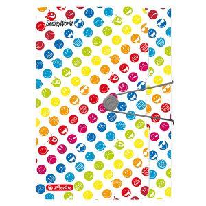 Mapă din Plastic cu Elastic, A4, Expandabilă, 12 Compartimente, Smiley Rainbow, Herlitz, 50002085