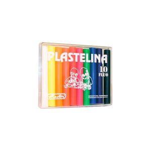 Plastilină, Set 10 Culori Fluorescente, Cutie Plastic, Herlitz, 9562943