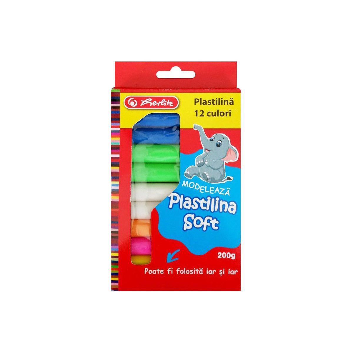 Plastilină Soft Clay, 12 Batoane, 8 Culori Asortate, Herlitz, 786950