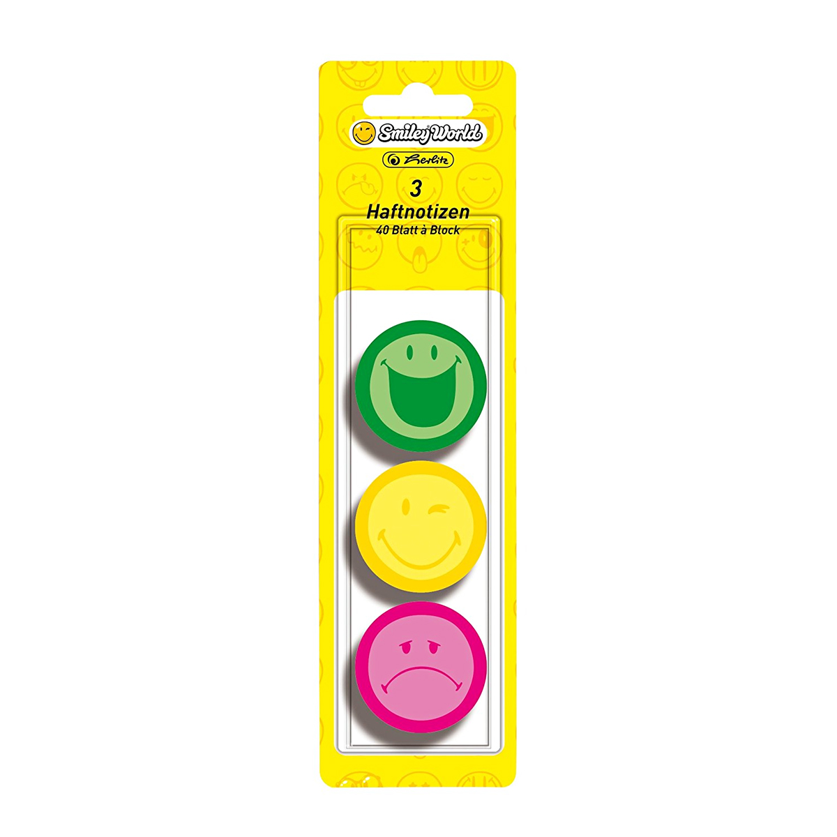 Memo Sticker, Post-It Rotund, 3 x 40 File, Smiley, Herlitz, 11238003