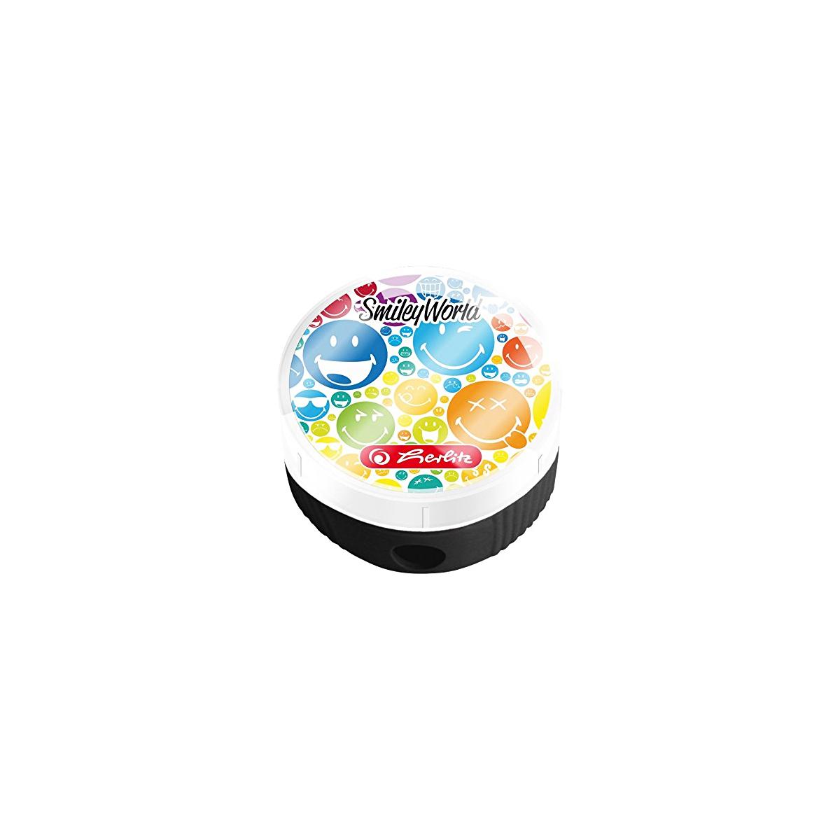 Ascuţitoare Rotundă & Container, Smileyworld Rainbow, Herlitz, 50001941