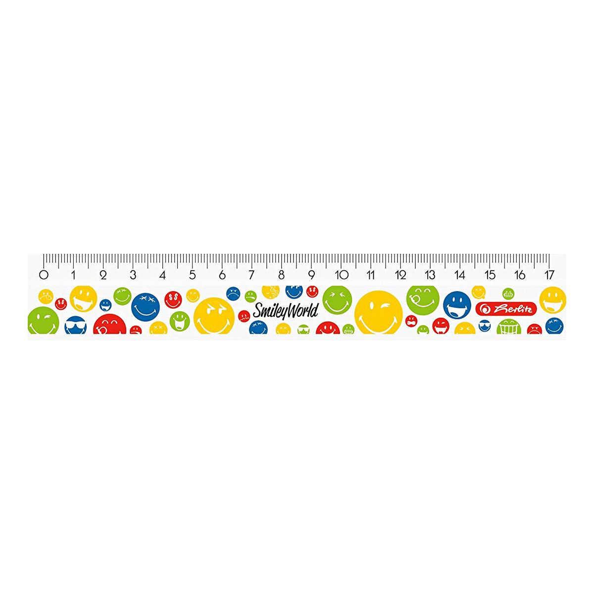 Riglă din Plastic, 17 Centimetri, Smileyworld Rainbow, Herlitz, 50001965