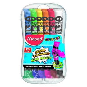 Tempera Color'Peps, 12 Culori, Cutie Plastic, Maped, 810520