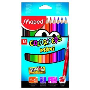 Set Creioane Colorate Color'Peps Maxi, 12 Culori, Maped, 834010