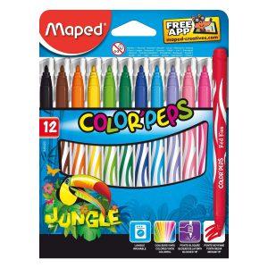 Set Carioci Color'Peps Jungle, 12 Culori, Maped, 845420