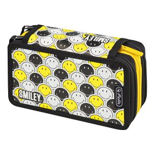 Penar Echipat, 3 Compartimente, 31 Piese, Smiley Black & Yellow Faces, Herlitz, 50015429