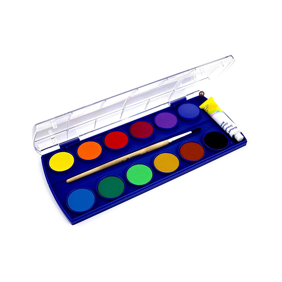 Set Acuarele, 11 Culori, Alb de Zinc, Pensulă, Pelikan, 721324