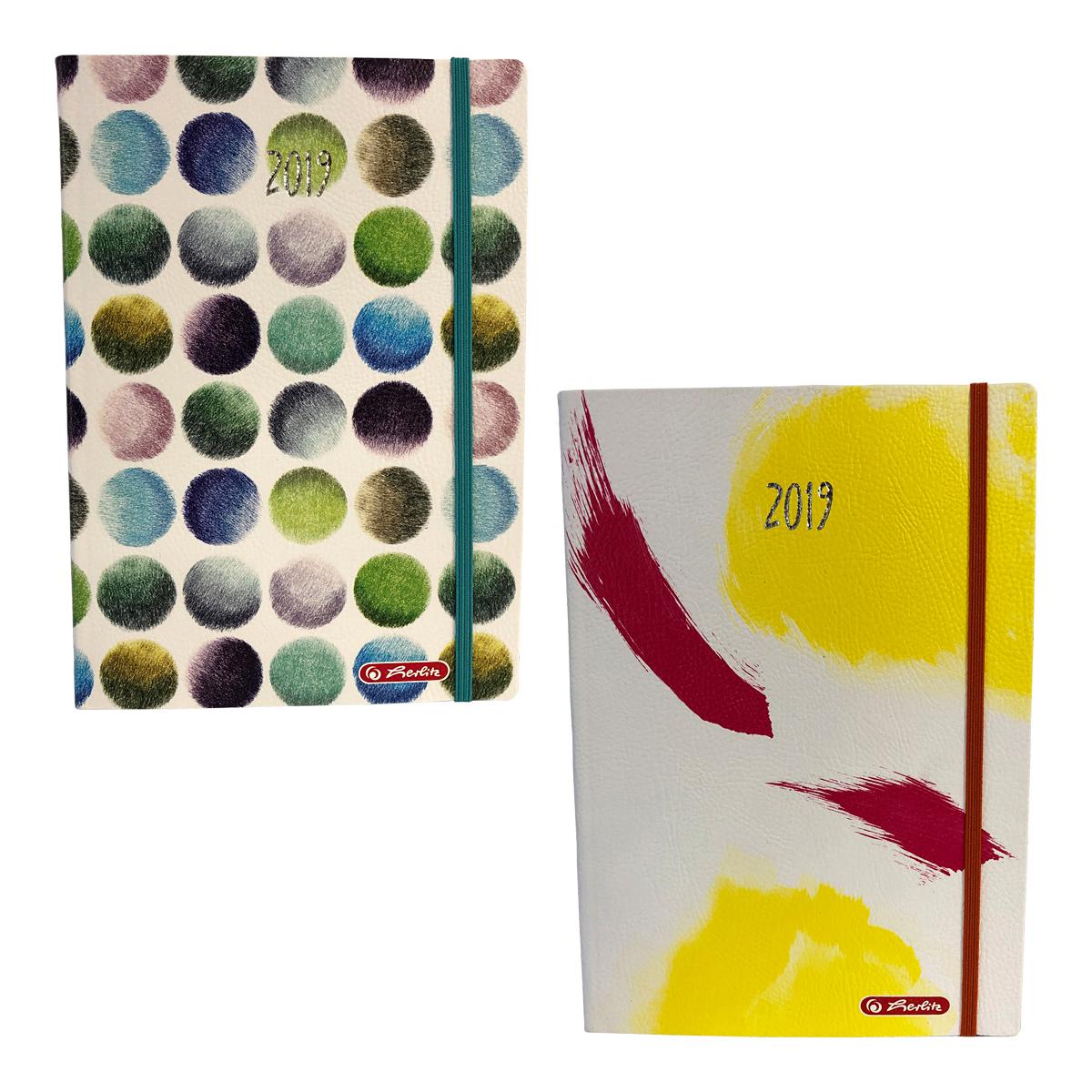 Agendă A5, Datată, Watercolor, 2019, 352 File, Diverse Motive, Herlitz, 9479840, 9477290