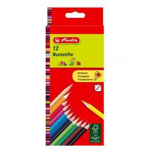 Set Creioane Colorate Triunghiulare, 12 Bucăți, Herlitz, 10412021