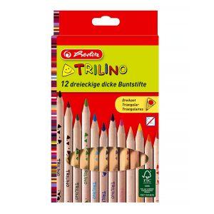 Set Creioane Colorate Triunghiulare, 12 Culori, Trilino, Herlitz, 10412062