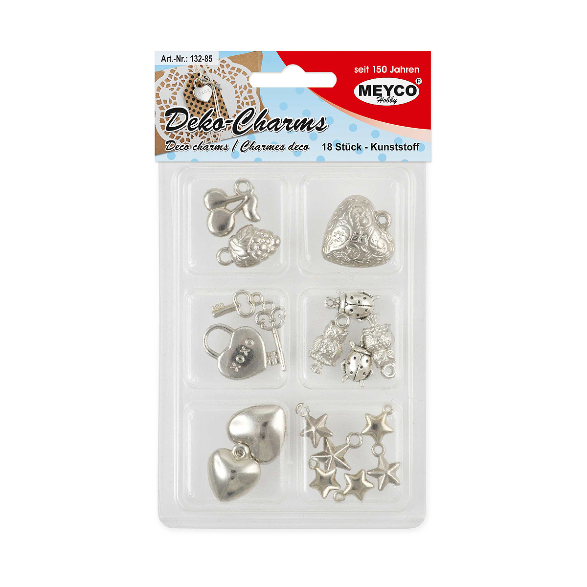 Set Mărgele din Plastic, Deco-Charms, 18 Forme Diverse, Meyco, 132-85