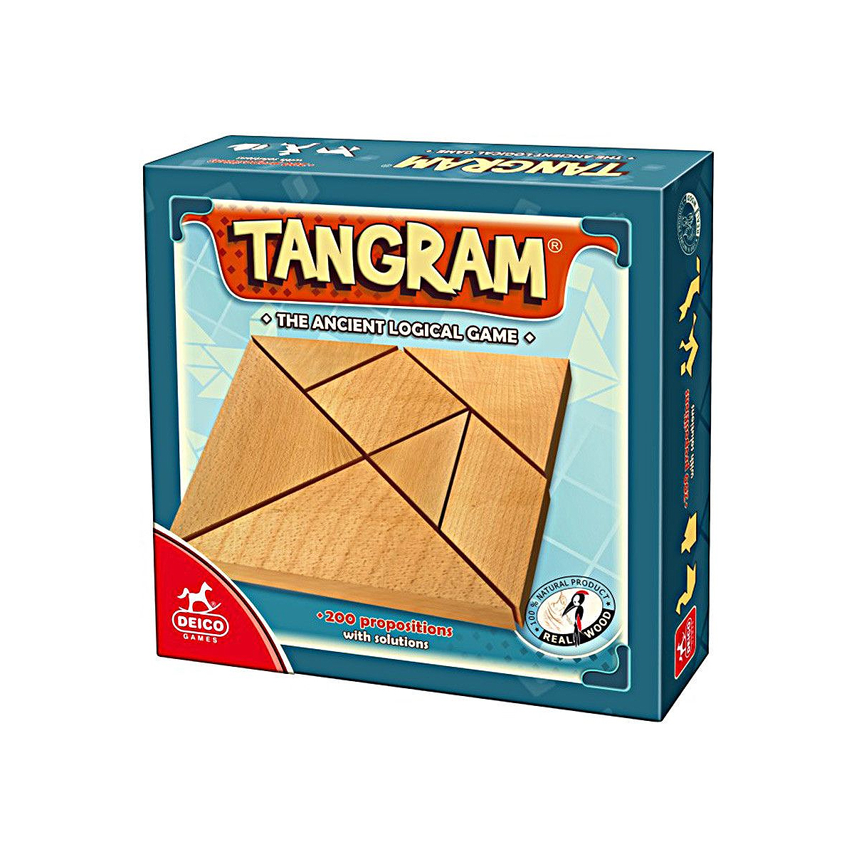 Joc Educativ Tangram din Lemn, The Ancient Logical Game, D-Toys, 64943
