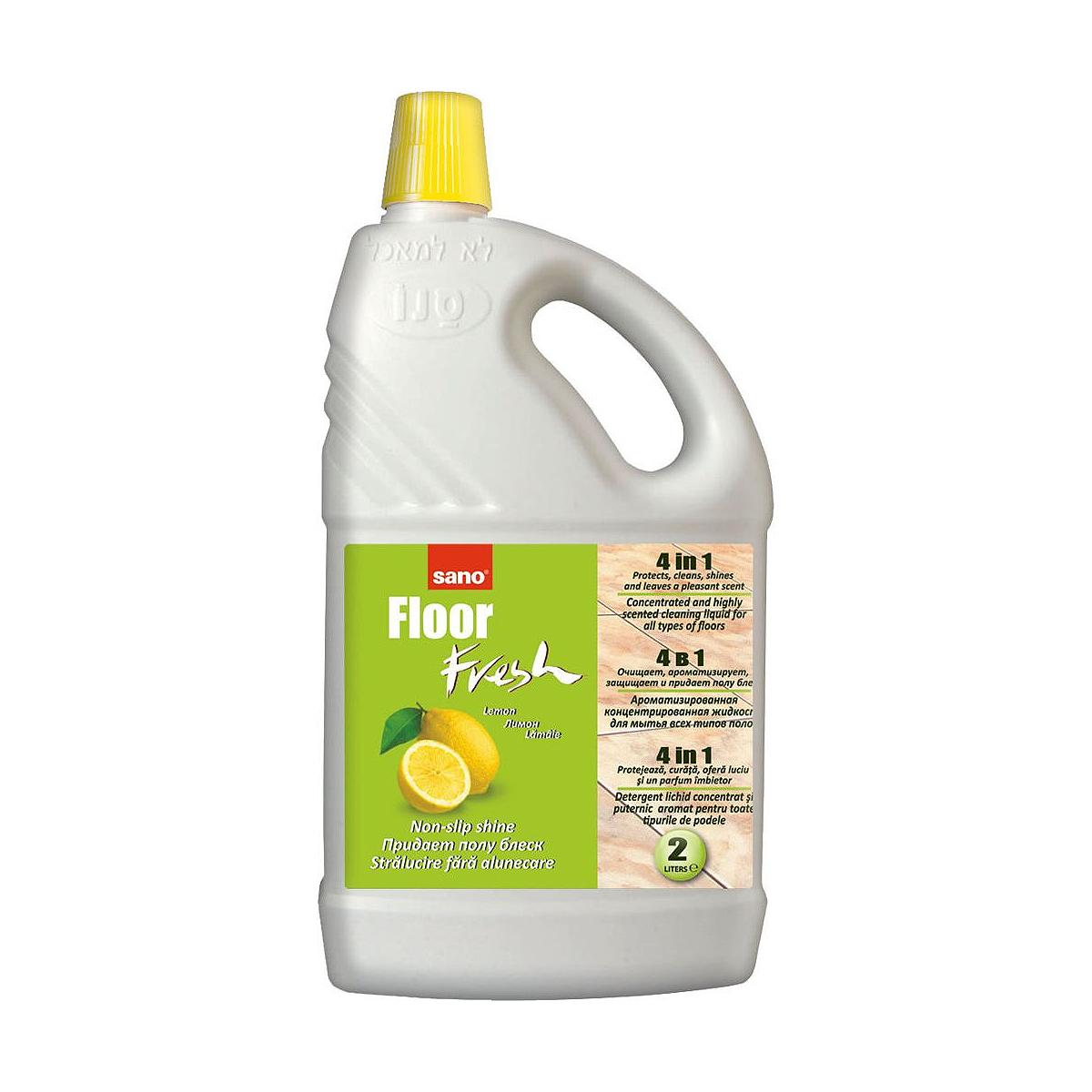 Detergent Pentru Pardoseli, 2 Litri, Fresh Lemon, Sano Floor, 823589