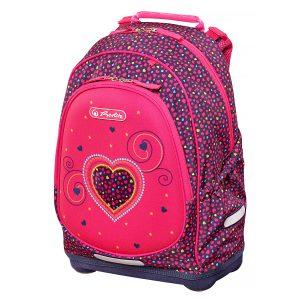 Rucsac Neechipat Pentru Școală, Bliss, Pink Hearts, Herlitz, 50014002