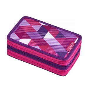 Penar Echipat, Trei Compartimente, 31 Piese, Motiv Pink Cubes, Herlitz, 50021062