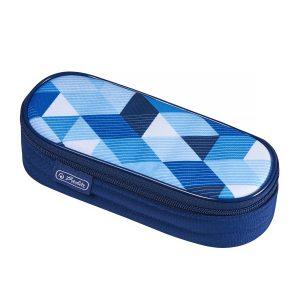 Necessaire Oval, Motiv Blue Cubes, Herlitz, 50021215