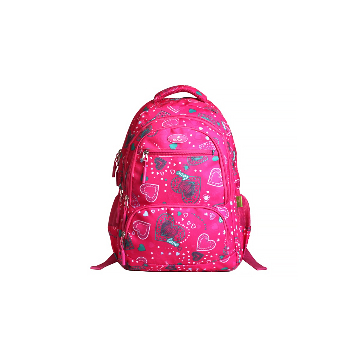 Ghiozdan Școlar Pentru Adolescenți, Roz, Inimioare, Ecada, 61405