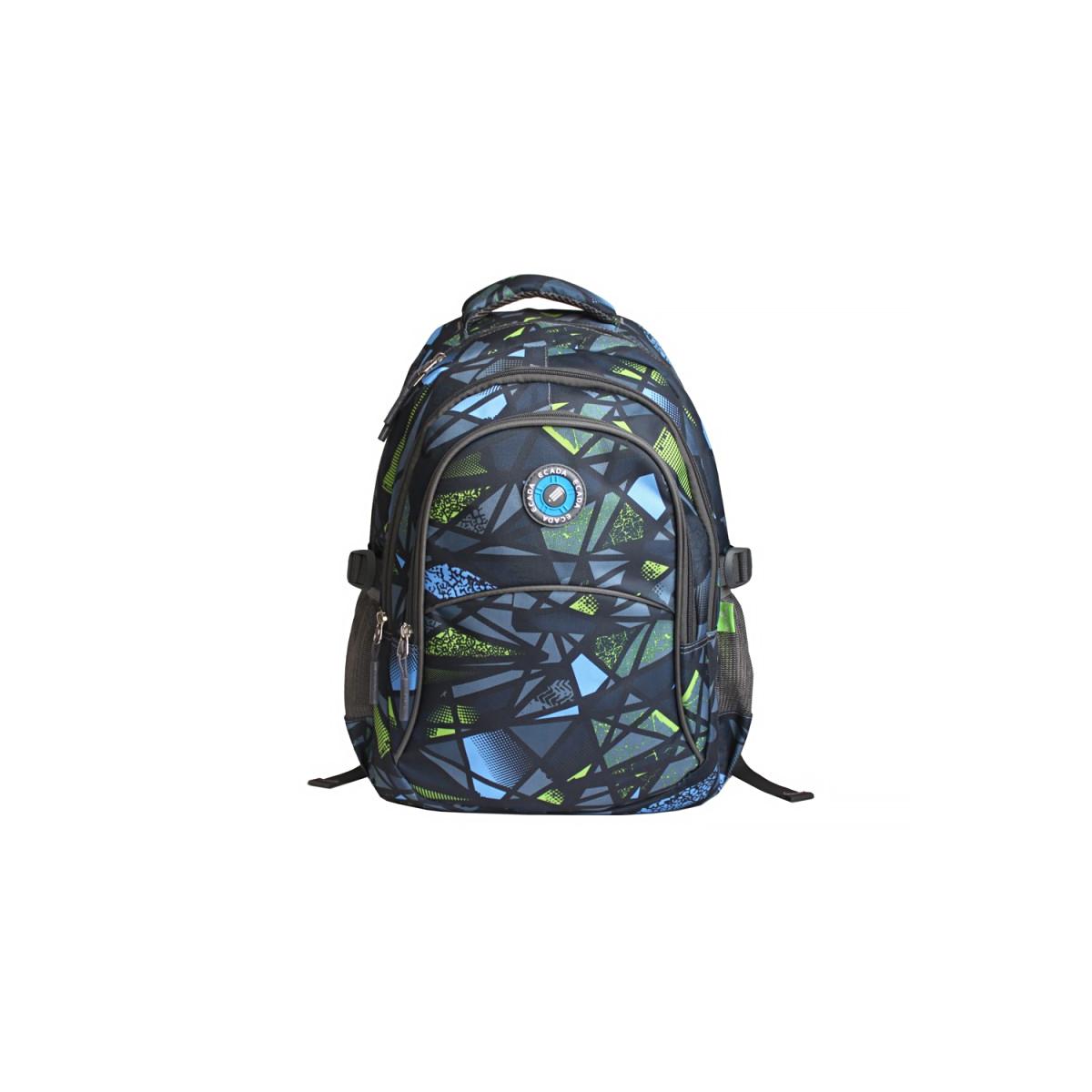 Ghiozdan Școlar Pentru Adolescenți, Albastru & Gri, Abstract, Ecada, 61460