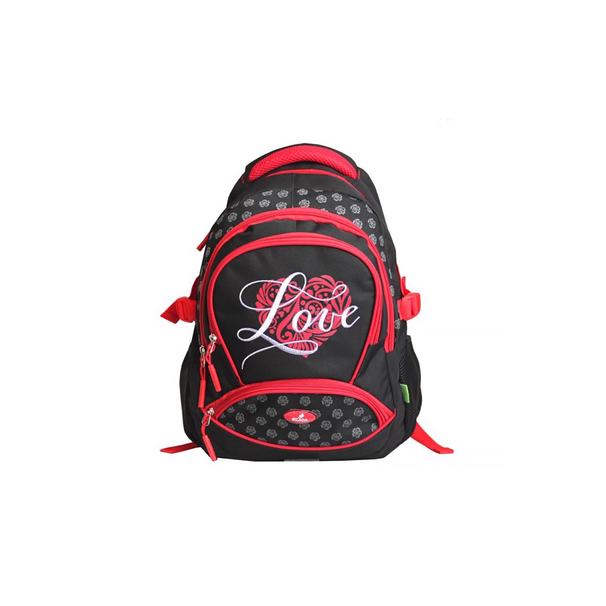 Ghiozdan Școlar Pentru Adolescenți, 46 Centimetri, Negru & Roșu, Love, Daco, 61712