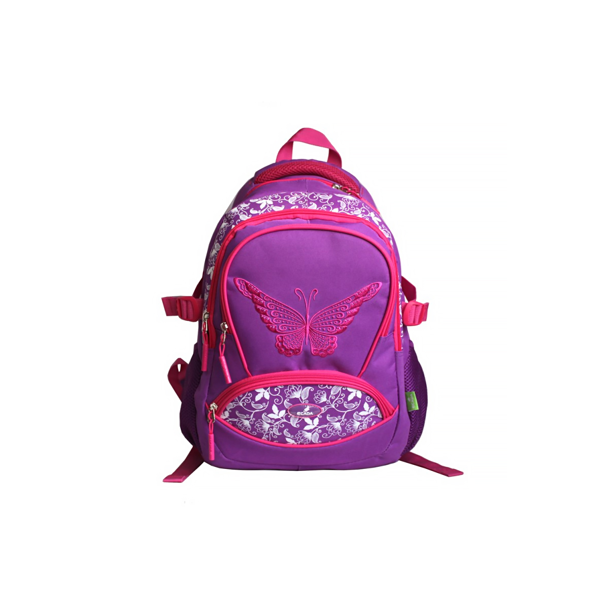 Ghiozdan Școlar Pentru Adolescenți, 46 Centimetri, Mov & Roz, Fluture, Ecada, 61714