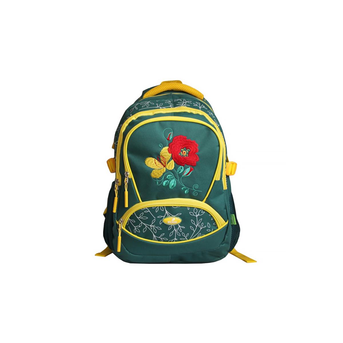 Ghiozdan Școlar Pentru Adolescenți, 46 Centimetri, Verde, Flori, Ecada, 61715