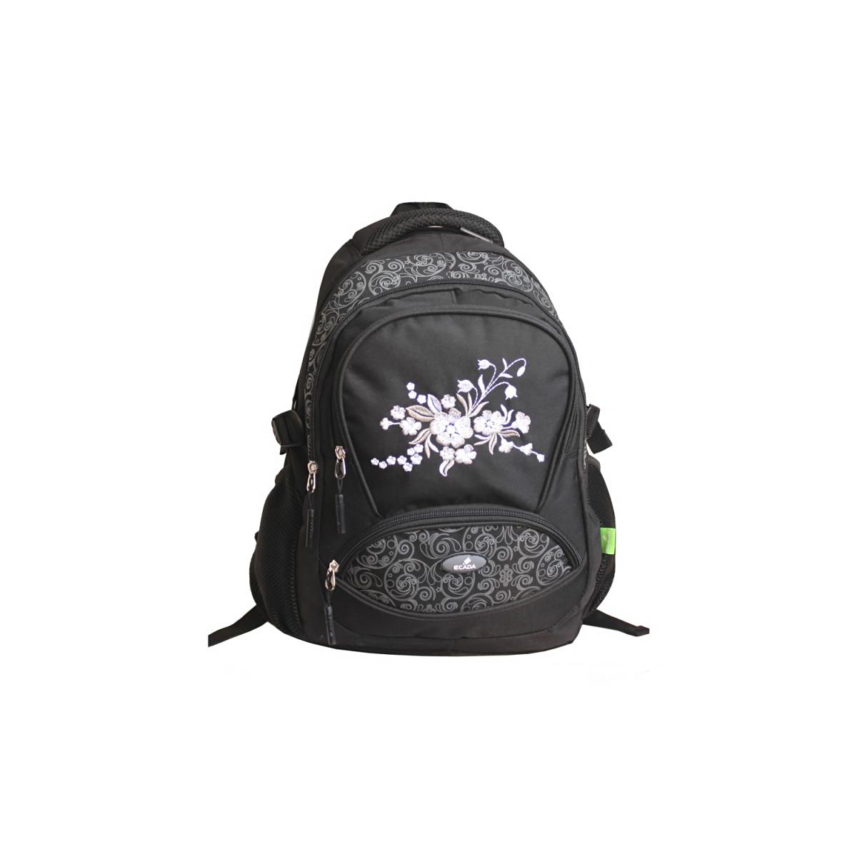 Ghiozdan Școlar Pentru Adolescenți, 46 Centimetri, Negru, Flori, Ecada, 61716