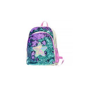 Ghiozdan Școlar cu Paiete Reversibile, 40 Centimetri, Multicolor, Stea, Ecada, 61718