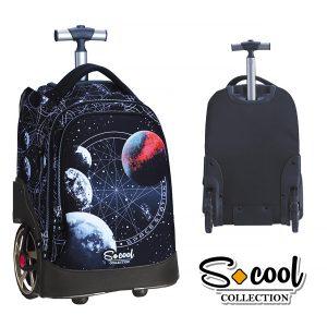 Troller Pentru Școală cu Trei Compartiment, Model Red Planet, S-Cool, SC759