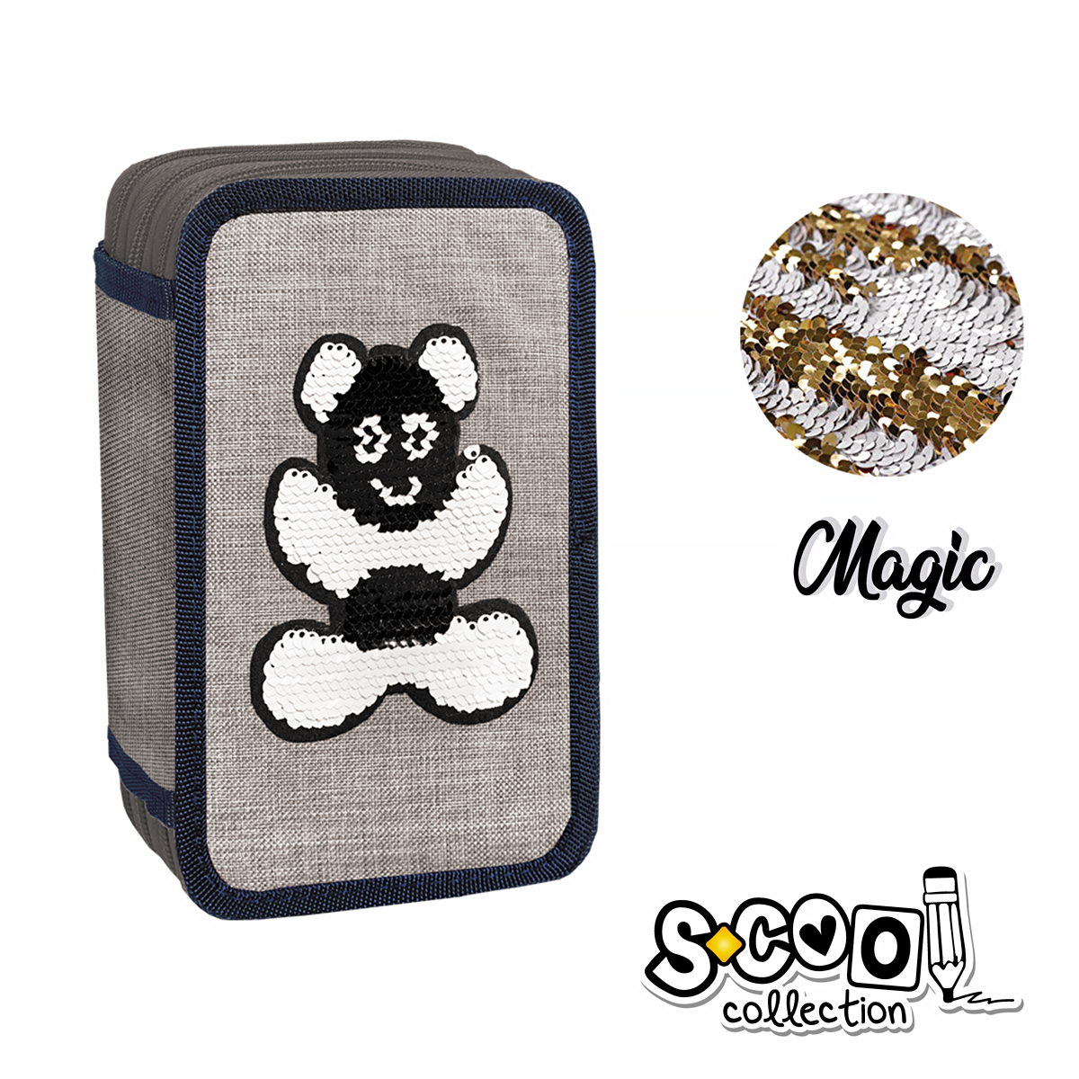 Penar Echipat cu Trei Fermoare, Model Magic Happy Bear, S-Cool, SC867