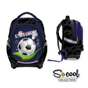 Ghiozdan Școlar cu Trei Compartimente, Multicolor, Space Champ, S-Cool, SC871