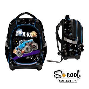 Ghiozdan Școlar cu Trei Compartimente, Multicolor, Cool Race, S-Cool, SC873