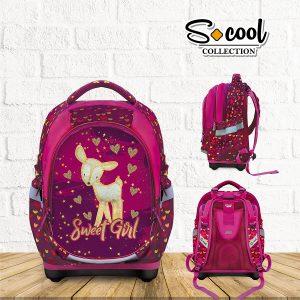Ghiozdan Școlar cu Trei Compartimente, Roz, Sweet Girl, S-Cool, SC874