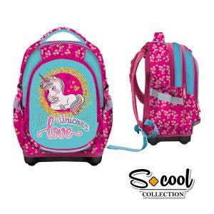 Ghiozdan Școlar cu Trei Compartimente, Roz, Unicorn Love, S-Cool, SC875
