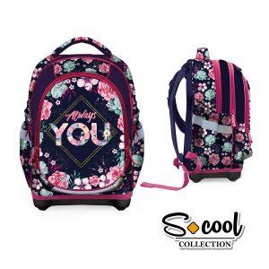 Ghiozdan Școlar cu Trei Compartimente, Roz, Always You, S-Cool, SC876