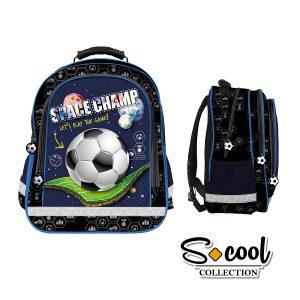 Rucsac Școlar cu Trei Compartimente, Albastru, Space Champ, S-Cool, SC877