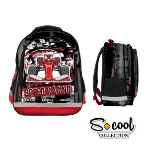 Rucsac Școlar cu Trei Compartimente, Negru, Speed Racing, S-Cool, SC879