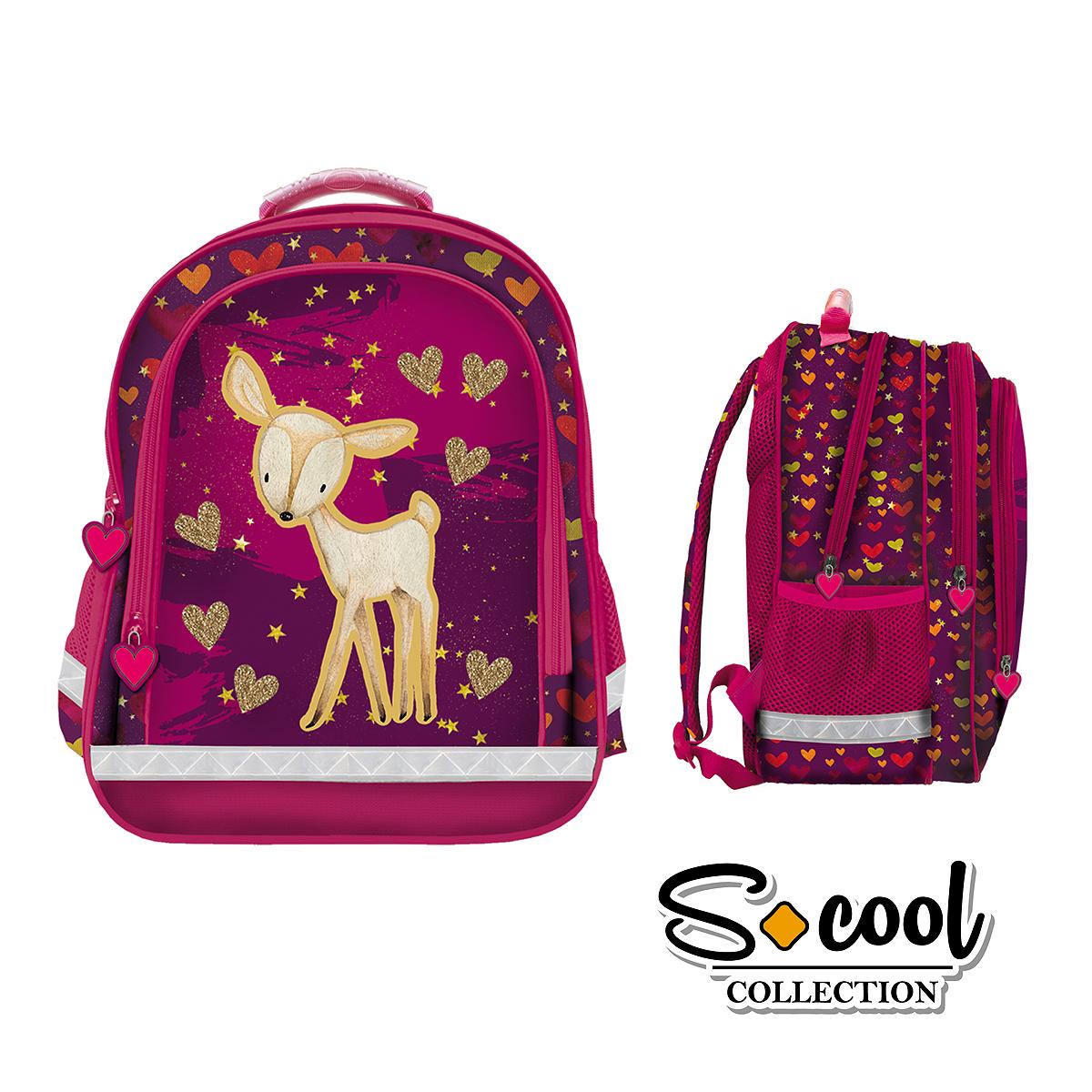 Rucsac Școlar cu Trei Compartimente, Roz, Sweet Girl, S-Cool, SC880