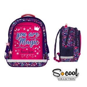 Rucsac Școlar cu Trei Compartimente, Roz, You Are Magic, S-Cool, SC881
