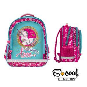 Rucsac Școlar cu Trei Compartimente, Roz, Unicorn Love, S-Cool, SC882