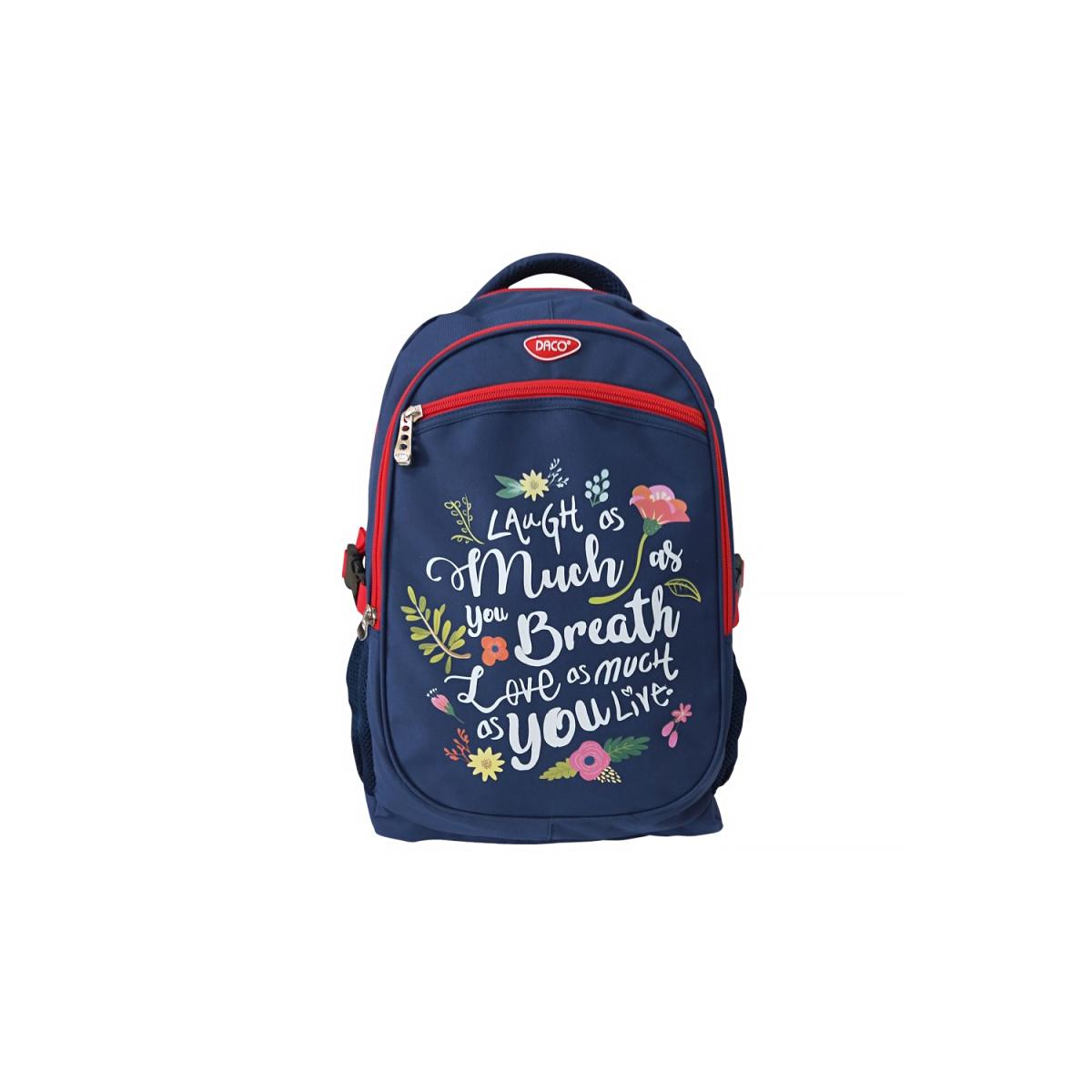 Ghiozdan Pentru Școlari, 48 Centimetri, Albastru & Roșu, Flori, Daco, GH431